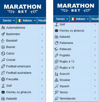 palinsesto marathonbet