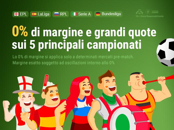 0% di margine sui top 5 campionati europei